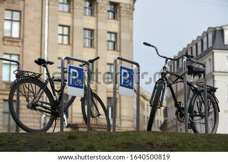 fiets · parkeren · stad · abstract · zomer · teken - stockfoto © nejron