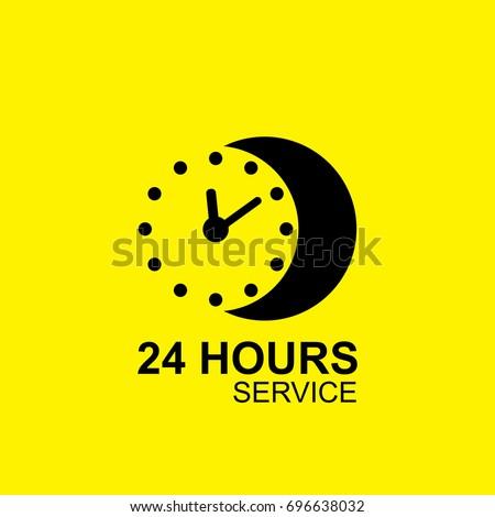 24 Hours Open Yellow Vector Icon Design Stock photo © rizwanali3d