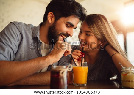 Sevimli çift içme portakal suyu birlikte kafe Stok fotoğraf © wavebreak_media