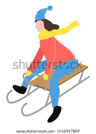 Person Sledding Downhill Alone in Winter Park Stock photo © robuart