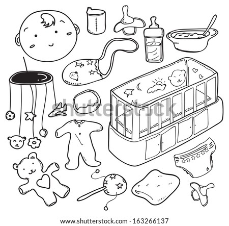 Baby care stuff, clothes, toys cartoon cute hand drawn doodle vector seamless border Stock photo © foxbiz