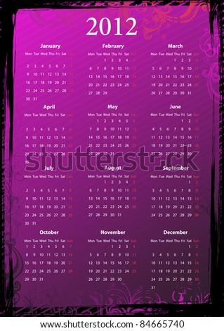 Vector European Floral Pink Grungy Calendar 2012 Photo stock © Elisanth