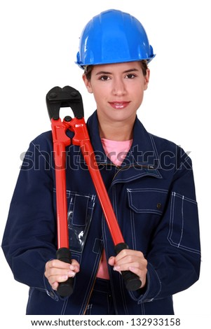 Women with pliers resting on the shoulder Stock photo © photography33