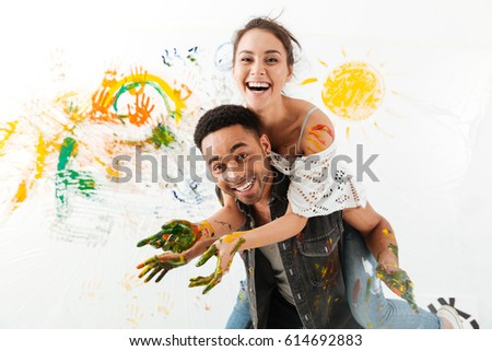 Two painters back to back, studio shot Stock photo © photography33
