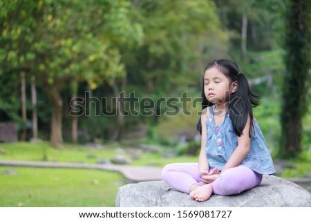Genç kız oturma kaya rahatlatıcı doğa mutlu Stok fotoğraf © aetb