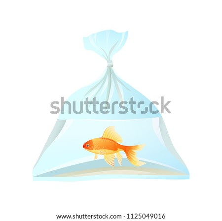 plastic bags of fishes for sale stock photo © meinzahn