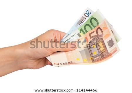 Pénz Euro kéz izolált fehér üzlet Stock fotó © oly5