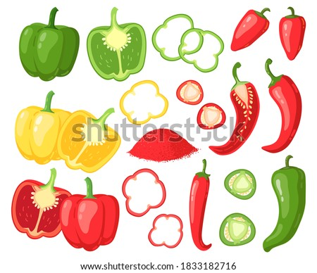 Fresh red and yellow chili peppers with spice Stock photo © juniart