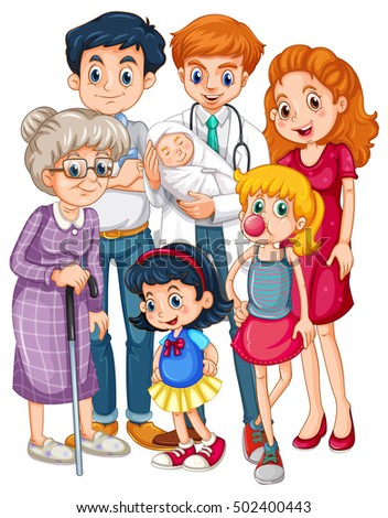 Doctor and many patients in different ages Stock photo © colematt