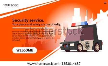 Security Car on Red Landscape Background. Vector Illustration. Stock photo © tashatuvango