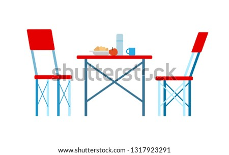 Picnic Place, Red Chairs and Served Table Vector Stock photo © robuart