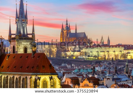 Aerial view over the city of Prague Stock photo © manfredxy