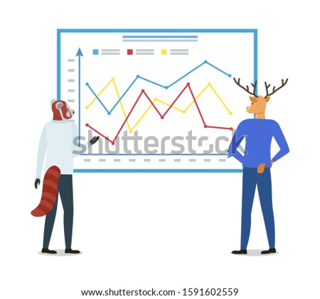 Hipster Animals Discussing Board with Chart Vector Stock photo © robuart