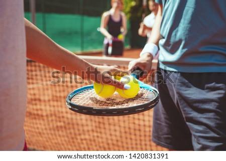 Nő tenisz dupla napos idő egészség csapat Stock fotó © Kzenon