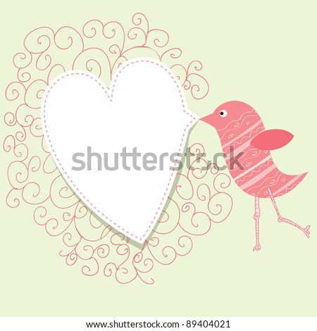 Bird With Speech Bubble Vintage Valentine Concept Stock fotó © mcherevan