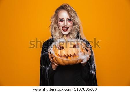 Halloween meisje Rood gothic make vrouwelijke Stockfoto © Mazirama