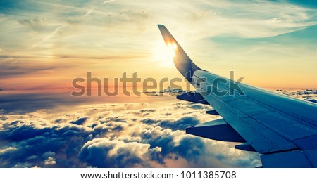 Wing of the plane on a background of sky  Stock photo © meinzahn