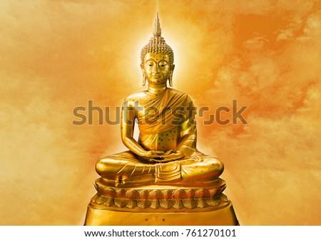Buda heykel güzellik altın barış beyaz Stok fotoğraf © AEyZRiO
