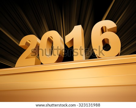 Golden New Year 2016 On A Pedestal Foto stock © marinini