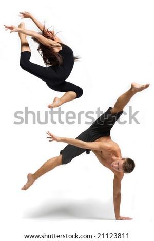 jovem · moderno · bailarino · posando · branco · quarto - foto stock © master1305