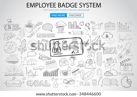 Employee Badge System concept with Doodle design style: Stock photo © DavidArts