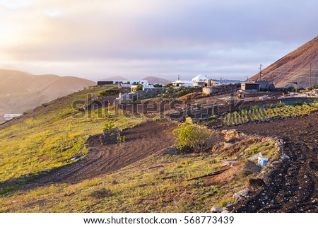 sunrise in Femes with view to the extinguished volcanoes Stock photo © meinzahn