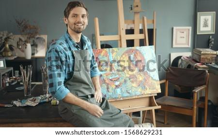 молодые мужчины художник рабочих новых Живопись Сток-фото © Elnur
