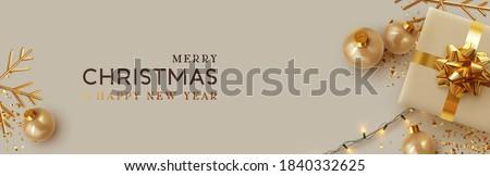 luxury christmas balls and sparkles decoration background Stock photo © SArts