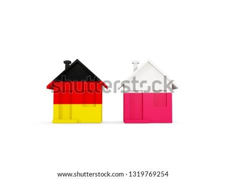 Сток-фото: два · домах · флагами · Германия · Польша · изолированный