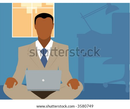 Men in Suit Sits Cross-Legged with Laptop Vector Stock photo © robuart
