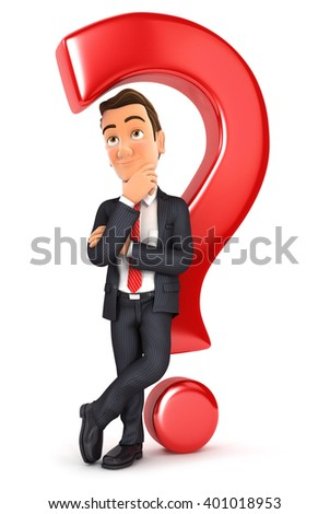 3d businessman leaning against question mark Stock photo © 3dmask