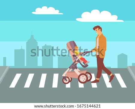 People Crossing Crosswalk, Kid in Buggy Vector Stock photo © robuart