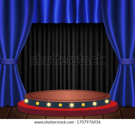Theatre wooden scene with dark background and blue curtains Stock photo © evgeny89