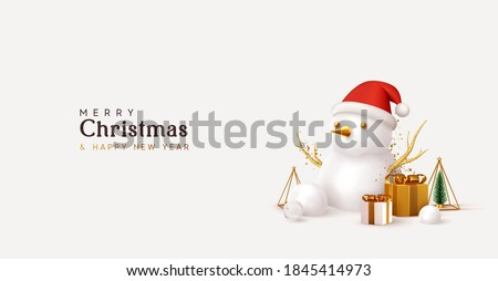 christmas greeting card with snowman stock photo © balasoiu