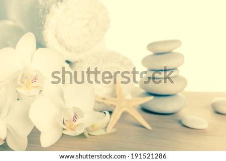 paars · orchidee · bloem · water · rustige · scène - stockfoto © compuinfoto
