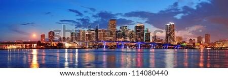 マイアミ パノラマ 夕暮れ 都市 高層ビル ストックフォト © meinzahn