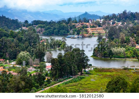 Gyönyörű tó kilátás zöld fák felülnézet Stock fotó © romvo