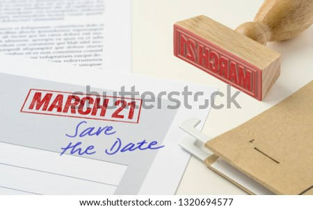 a red stamp on a document   march 21 stock photo © zerbor
