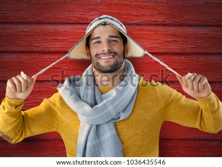 Man Smiling and Posing in Warm Winter Clothes Stock photo © robuart