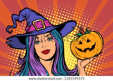 Pop art gyönyörű boszorkány copy space boldog terv Stock fotó © ShustrikS