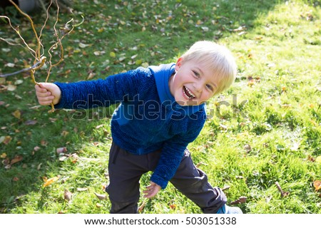 Portrait of a five year old boy in autumn season Stock photo © Lopolo
