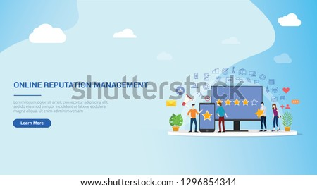Online reputation management concept landing page Stock photo © RAStudio