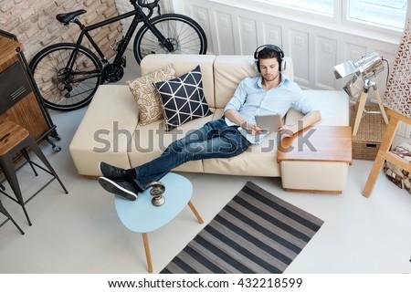 Single man with headphones Stock photo © photography33