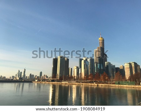 şehir merkezinde Chicago sabah Cityscape Bina Stok fotoğraf © AndreyKr