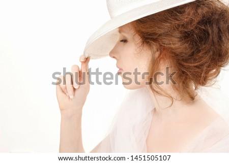 Lovely woman in hat retro portrait Stock photo © Nejron