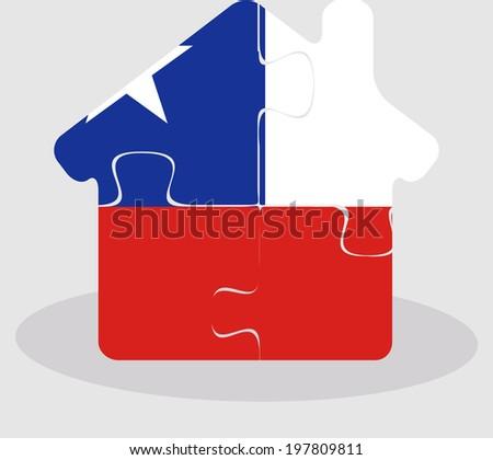 Ház otthon ikon Chile zászló puzzle Stock fotó © Istanbul2009