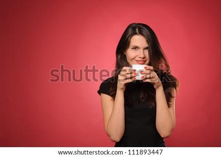 女性 · 赤 · カップ · 笑顔 · 食品 - ストックフォト © artjazz