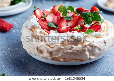 Pavlova cake with strawberry Stock photo © YuliyaGontar