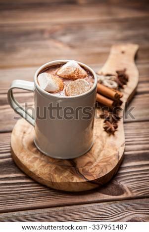 Velho caneca chocolate quente leite dois fundo cinza Foto stock © Melnyk