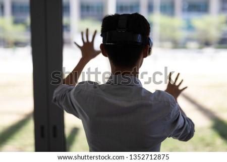 вид сзади молодые азиатских мужчины исполнительного виртуальный Сток-фото © wavebreak_media